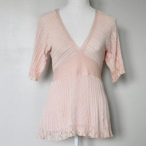 Anthropologie Guinevere Blush Pink V Neck Blouse